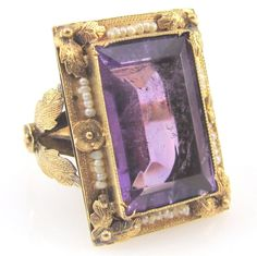 Art Nouveau Emerald Cut Amethyst Ring w/ Seed Pearls in 14KY Gold | FJ RI #SolitairewithAccents