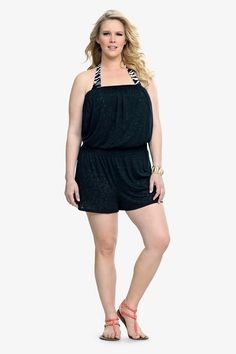 b461d0a4dc7 Black Leopard Burnout Strapless Romper Cover-Up by Torrid Plus Size  Clothing Sale