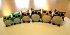 Marzipan owl figures