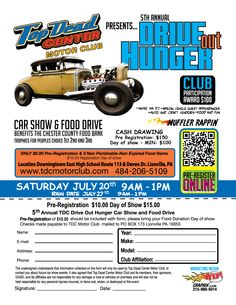 5th Annual Drive Out Hunger #CarShow #FoodDrive  Find more events like these at CarShowHQ.com  Car Show HeadQuarters │ National Automotive Event Calendar - Big thanks to http://yepgraphix.com/ for providing the flyer!