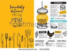 Restaurant brochure vector, menu design. Vector cafe template with hand-drawn graphic. Food flyer. - stock vector