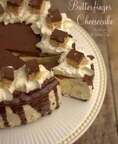 Low carb, gluten free, sugar free Butterfinger Cheesecake (uses low carb recipe butterfingers)