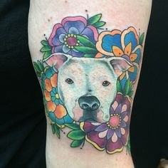 Pitbull & Neo-Traditional Flowers by Matt Stankis #northsidetattoosdotcom…