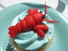 Fondant Lobster #character #cupcake #cute #thimblecakes #ottawa Sea Cupcakes, Cupcake Cakes, Cake Decorating With Fondant, Cookie Decorating, Pug Cake, Lobster Cake, Fondant Animals, Fondant Figures, Cake Tutorial