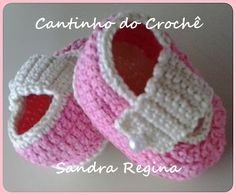 Sapatilha em croche para bebe