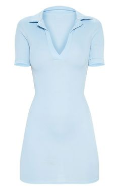 The Baby Blue Ribbed Polo Shift Dress. Head online and shop this season's range of dresses at PrettyLittleThing. Dress Outfits, Cool Outfits, Casual Outfits, Summer Outfits, Fashion Outfits, Womens Fashion, Polo Dress Outfit, Blue Skirt Outfits, Blue And White Outfits
