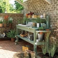 Senoia Georgia Idea House Tour A potting bench with an outdoor sink keeps gardening projects organized. The post Senoia Georgia Idea House Tour appeared first on Outdoor Diy. Woodworking Projects Diy, Woodworking Bench, Woodworking Store, Woodworking Machinery, Woodworking Classes, Outdoor Projects, Garden Projects, Diy Projects, Garden Ideas