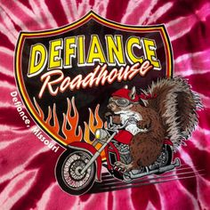 Shirt Kong: Seven color print for our friends at Defiance Roadhouse. Don't forget, we can print on Tie Dye T-shirts! #screenprinting #DefianceRoadhouse #Missouri #midwest #squirrel #motorcycle #flames #shirtkong #tiedye #tshirts