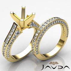 Side Stone Diamond Wedding Round Semi Mount Solitaire Ring 14k Yellow Gold 1Ct