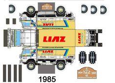 Free Download Paper Model Trucks   1985 liaz n627 - Le Dakar en maquette Cardboard Toys, Paper Toys, Paper Crafts, Paper Car, Origami Paper Art, 3d Puzzles, Paper Models, Slot Cars, Rally