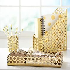 Shop Golden Glam Desk Accessories from Pottery Barn Teen. Our teen furniture, decor and accessories collections feature fun and stylish Golden Glam Desk Accessories. Create a unique and cool teen or dorm room. Cubbies, Teen Desk, Emily And Meritt, Cute Desk, Pottery Barn Teen, Diy Home, Home Office Decor, Office Desk, Office Fun
