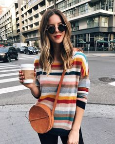 Striped Sweater, Round Bag