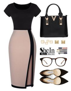 """""""Shein"""" by simona-altobelli ❤ liked on Polyvore featuring Jimmy Choo, Palm Beach Jewelry and Madewell"""