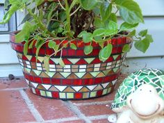 Red Stained Glass Mosaic Pot by siriusmosaics, via Flickr
