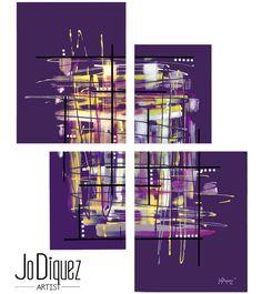 Original abstract painting. 4 piece canvas art. 42x34 by JoDiquez