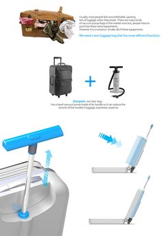 Pumpack by Yejee Lee / Jongchan Mun / Seobin Oh / Woneui Hong - 2   It's quite the trend to have suitcases with an expandable hood to accommodate more clothes and stuff. However very few have stopped to consider vacuum packing clothes, to make more space. The Pumpack is one such suitcase design where it includes a pump that helps to compress clothes to make more packing room.