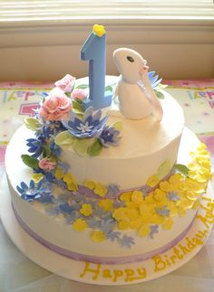 Easter first birthday cake w/ fondant decorations