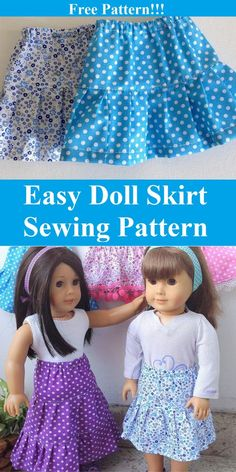 Fun and Easy Doll Skirt Sewing Pattern - Sew Crafty Me - - This is a doll skirt sewing pattern for inch American doll. You can use this pattern to sew a mini, midi or maxi skirt for the doll. Sewing Doll Clothes, American Doll Clothes, Sewing Dolls, Girl Doll Clothes, Girl Dolls, Ag Dolls, Barbie Clothes, Sewing Coat, Barbie Doll