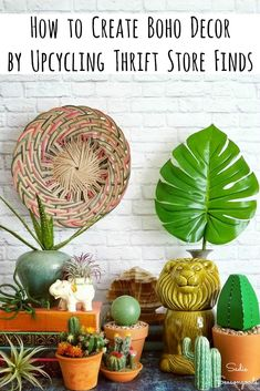 Boho decor is all the rage these days, blending the look of midcentury modern decor with west coast-inspired hippie living! From bright colors to plants to exotic treasures from around the world, you can replicate this trendy home decor style from thrift store finds and upcycling craft projects! #boho #bohodecor #bohodecorating #bohodecorideas #bohemiandecor #bohemiandecorating #bohoroom #thriftstoredecor #upcycledcrafts #modernboho #modernbohemian