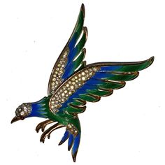 Vintage TRIFARI Enameled Eagle Rhinestone Bird Brooch Pin #Trifari