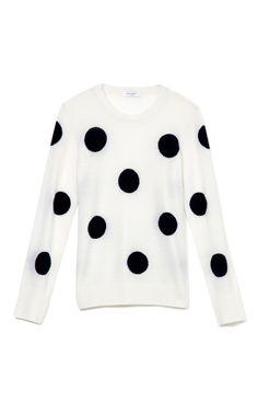 Shop Ivory Black Shane Crew Neck Sweater by Equipment for Preorder on Moda Operandi