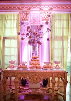 Brilliant idea of putting pink lights behind dessert table; Simple but amazing, 5 Top Tips On How To Create A Wedding Dessert Table By Tempting Cake; Wedding Sweets, Wedding Candy, Wedding Cupcakes, Dessert Buffet, Dessert Bars, Dessert Tables, Candy Table, Candy Buffet, Wedding Planning