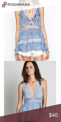 FREE PEOPLE - Intimately Deep V Lace Trapeze Cami FREE PEOPLE - Intimately Deep V Lace Trapeze Cami size XS. Would also fit a S since it is meant to be a baggies fit. NEVER WORN. Free People Tops