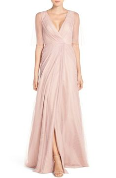 Monique Lhuillier Bridesmaids Sheer Capelet V-Neck Tulle A-Line Gown available at #Nordstrom