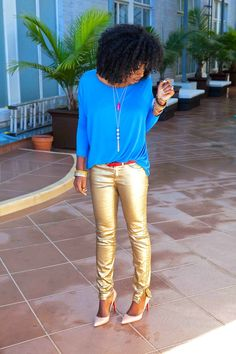 gold pants with blue t