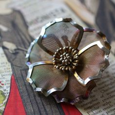Silver Mesh Flower Costume Jewelry Brooch Pin by undoneeclectic, $20.00