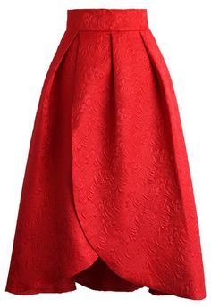 Tulip Fairy Embossed Midi Skirt in Ruby - New Arrivals - Retro, Indie and Unique Fashion