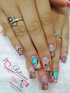 Long Nail Designs, Pedicure Designs, Nail Art Designs, Pretty Nail Art, Beautiful Nail Art, Animal Nail Art, Finger Nail Art, Long Acrylic Nails, French Tip Nails