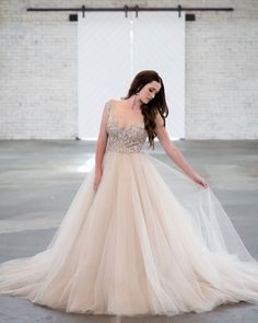 Layers of tulle and   signature sparkle make for one dazzling style when it comes to this beaded champagne beauty! Lazaro Bridal, Strictly Weddings, Wedding Dress Shopping, Formal Dresses, Wedding Dresses, Bridal Style, Ball Gowns, Dream Wedding, Tulle