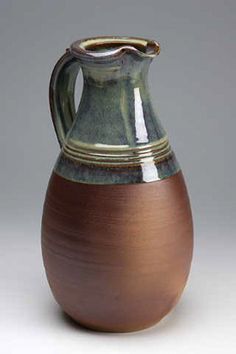 Ceramics by Alan Gaff (1962 -2008) at Studiopottery.co.uk - Tall jug rutile glaze and woodash.