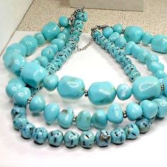 Necklace-three-strands-faux-turquoise-round-nuggets-huge-aqua-17-1-2-inch-AVON