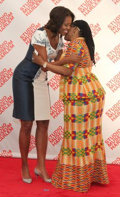 First Lady Michelle Obama Hosts First Ladies of the World ... U.S. First Lady Michelle Obama greets Lorinda Mahama, wife of John Mahama, President of Ghana, during a luncheon at The Studio Museum of Harlem Tuesday Sept. 24, 2013 in New York. Mrs. Obama hosted the event for spouses of chiefs of state and heads of government participating in the UN General Assembly.