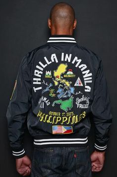"""Thrilla in Manila Stadium Jacket Commemorating the classic 1975 trilogy fight between Muhammad Ali and Joe Frazier, known more famously as the """"Thrilla in Manil What Is A Heart, Thrilla In Manila, Roots Of Fight, Muhammad Ali, Boxer, Vintage Outfits, Bomber Jacket, Sweatshirts, Jackets"""