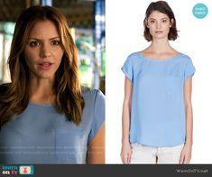 Paige's blue top on Scorpion.  Outfit Details: http://wornontv.net/54070/ #Scorpion