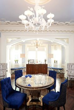 Crushed velvet royal blue dining chairs and wood table | [ dining ...