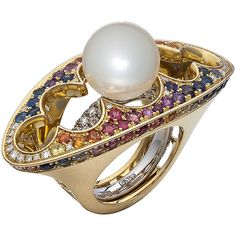 Alexander Arne, Love ring, Yellow and white gold, diamonds 1.40 Ct, sapphires 4.30 Ct, sea pearl D=13.00