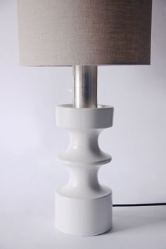 Rare Large White Steuler Table Lamp Continua 1960s by 1001vintage
