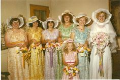 Shirley's 1st wedding 1979 Diana in blue Michele Bickel in pink