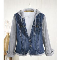 """Fleece and Denim Jacket has the look of layers without the bulk. This great-fitting jacket is actually one piece with a denim body and fleece knit sleeves, hood, and hem. Front snap placket, on-seam pockets, and long sleeves with snap cuffs. 99% cotton/1% spandex denim and 85% cotton/15% polyester fleece. Machine wash. Imported. Misses' 25"""" long. $60"""
