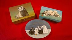 wooden boxes with ferrets paintings