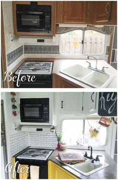 Before and after pictures of a RV kitchen renovation