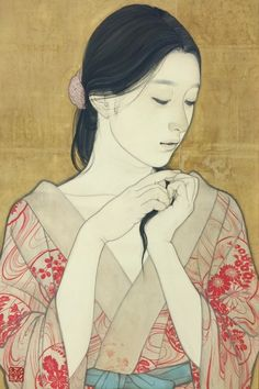 Japanese Art Prints, Japanese Painting, Chinese Painting, Japanese Poem, Japanese Lady, Botanical Illustration, Illustration Art, Japanese Calligraphy, Painting Of Girl