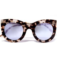Illesteva White Tortoise Shell Boca Sunglasses (7 380 UAH) ❤ liked on Polyvore featuring accessories, eyewear, sunglasses, mirrored cat eye sunglasses, illesteva sunglasses, mirrored sunglasses, white lens sunglasses and tortoise cat eye sunglasses