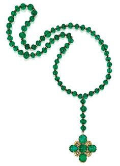 Emerald, Diamond and Enamel Rosary, German, Late 17th Century