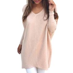 Long Style Pullover Women's Fashion Knitting Sweater Female V Neck Loose Autumn Winter Fashion Pullovers Knitted Sweater GV382