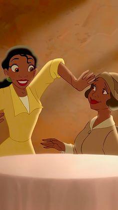 Tiana and her mother, Eudora. Girl Cartoon Characters, Female Cartoon, Disney Characters, Cute Disney, Disney Art, Disney Films, Disney Pixar, Black Girls Power, Tiana And Naveen